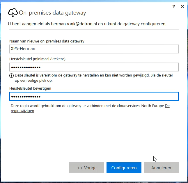 Power BI Gateway Recovery Key en naam