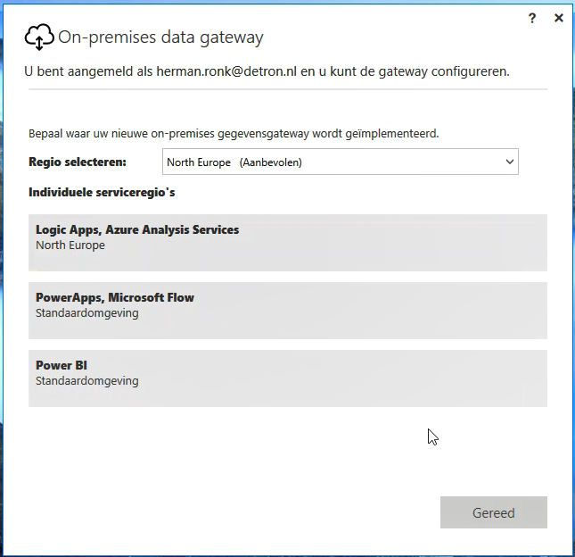 Power BI Gateway regio