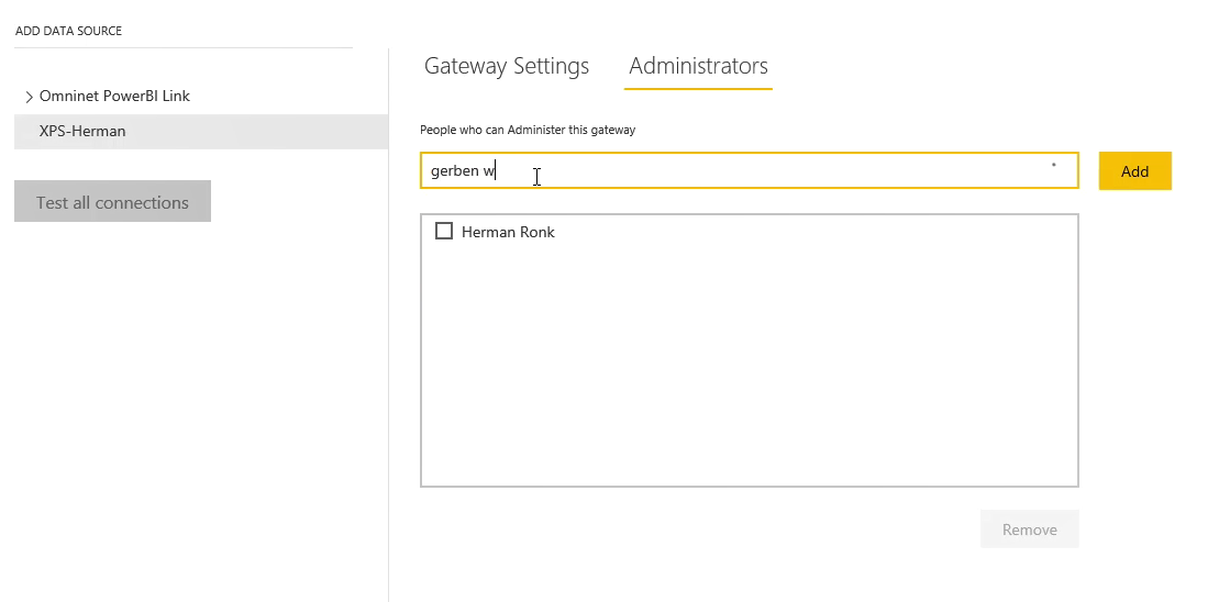 Power BI Gateway administrators