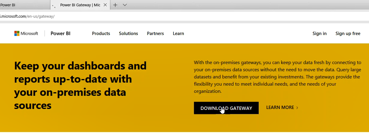 Download Power BI gateway