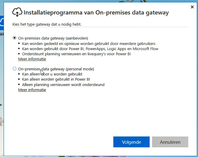 Power BI Gateway Installtie modus