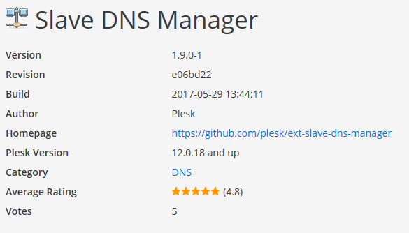 Slave DNS Manager extension page
