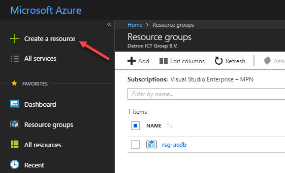 "Azure portal ""Create Resource"""