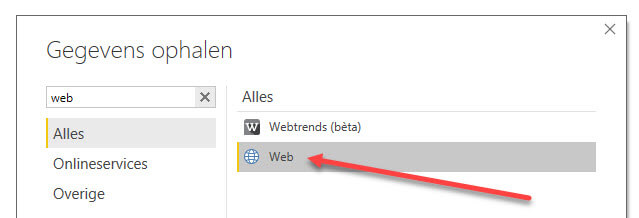 De Power BI web data source connector